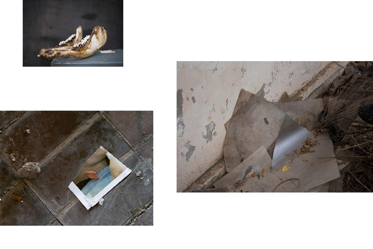 Stévié, Togo : ossement, mâchoire pour rituel Voudou, Vodoon, couvent. — Sarajevo : fragment d'image, hôtel abandonné. — Stévié, Togo : rebut.
