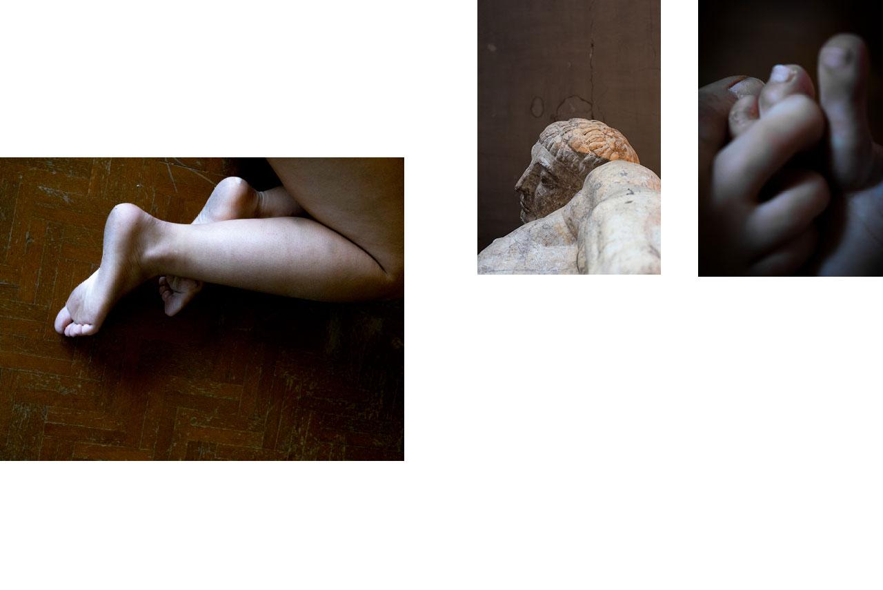 Jambes : tomber, être à terre, violences faites aux femmes, bleus, agression. — Paris : musée Bourdelle, atelier, statue, fragment, masculin, regard masculin. — Orteils : sombre, sales.