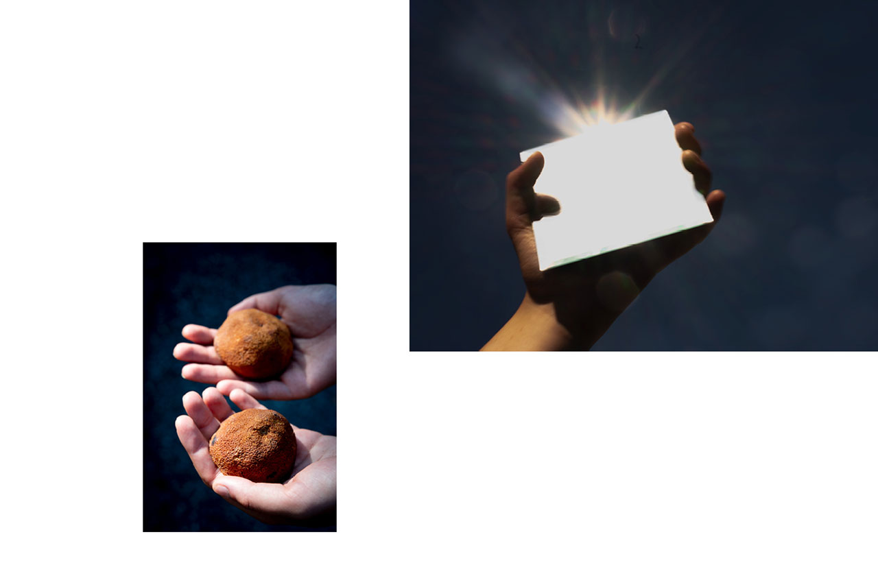Jeune femme, main, orange, fruits pourris, finitude, clair-obscur. — Jeune femme, main, ciel bleu, miroir, éclat, soleil, brillance.