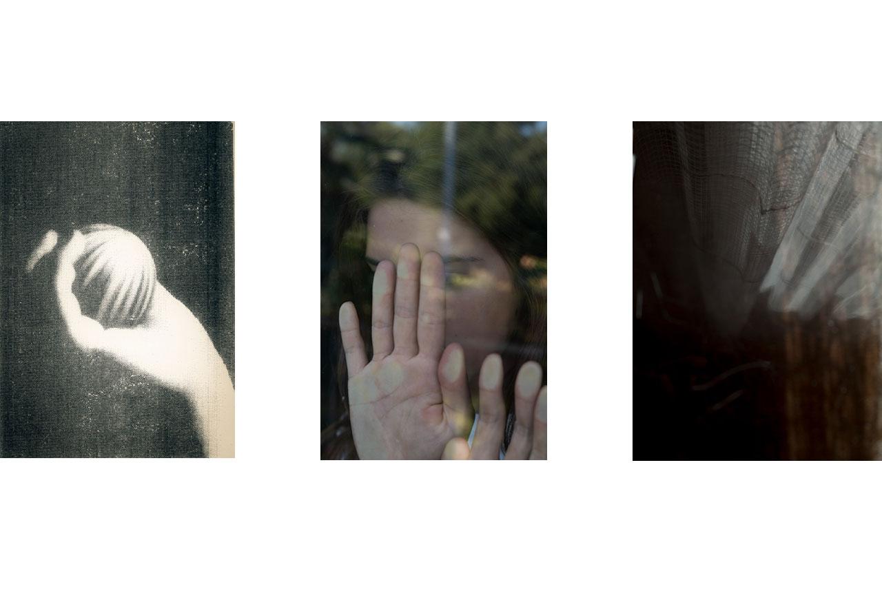 Main : femme, photo anonyme, vieux magazine, geste, violence, fax, art plastique, lancer, jeter. — Portrait : jeune femme, cachée, reflets, violences faites aux femmes, agressions.