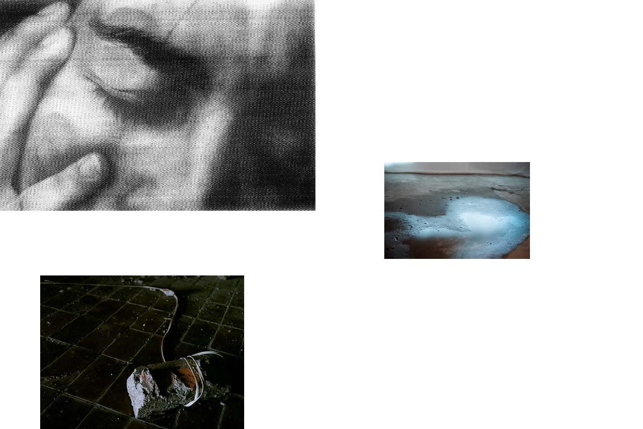 Portrait : écrasé, jeune femme, douleur, pleurs, violences faites aux femmes, agressions. — Sarajevo : pierre, lien, corde, urbex, hôtel abandonné, clair-obscur, peur. — Reflet : flaque, eau, larmes, hangar abandonné, urbex.
