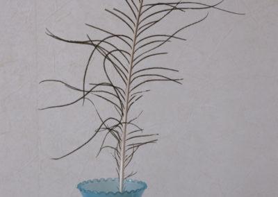 Vase bleu: détail, plume de paon.