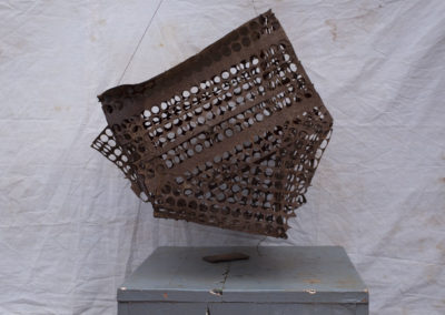 Cage: pigeons, Togo, Vaudou, Afrique, métal, rouille.