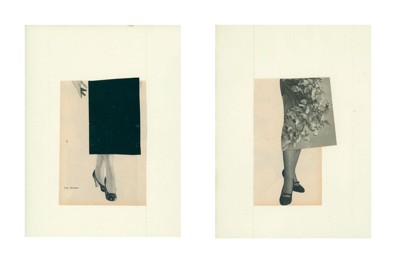 Magazine Haute couture. Elle. Années 50 / années 60. Découpages. Images découpées, assemblées. Collage. Vintage. Féminité. Féminin. Noir et blanc. Papier ancien.