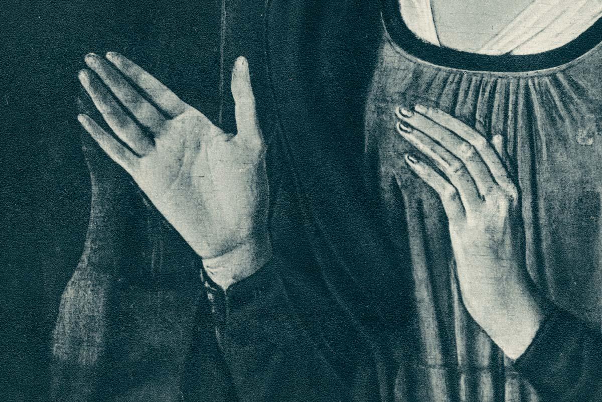 Peinture anonyme. Découpage. Détail. Mains. Femme.