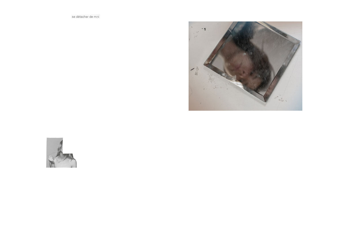 Photo et collage de mots. Écriture intuitive. Découpage, collage. Vintage. Magazine ancien. Années 60. Diptyque. Écriture intuitive. Assemblage. Miroir. Reflet. Jeune femme. Mélancolie. Portrait.