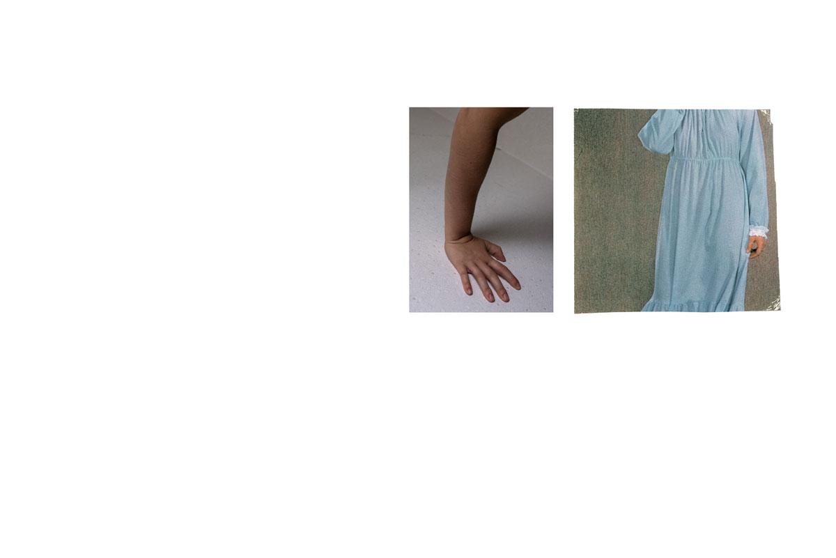 Photo et collage de mots. Écriture intuitive. Découpage, collage. Vintage. Magazine ancien. Années 60. Diptyque. Assemblage. Nuit. Chemise de nuit bleue. Main. Bras. Femme. Féminin.