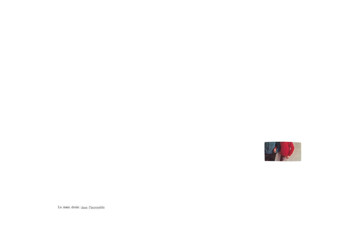 Photo et collage de mots. Écriture intuitive. Découpage, collage. Vintage. Magazine ancien. Années 60. Écriture intuitive. Assemblage. Couple. Lien. Rapprochement. Pull rouge.