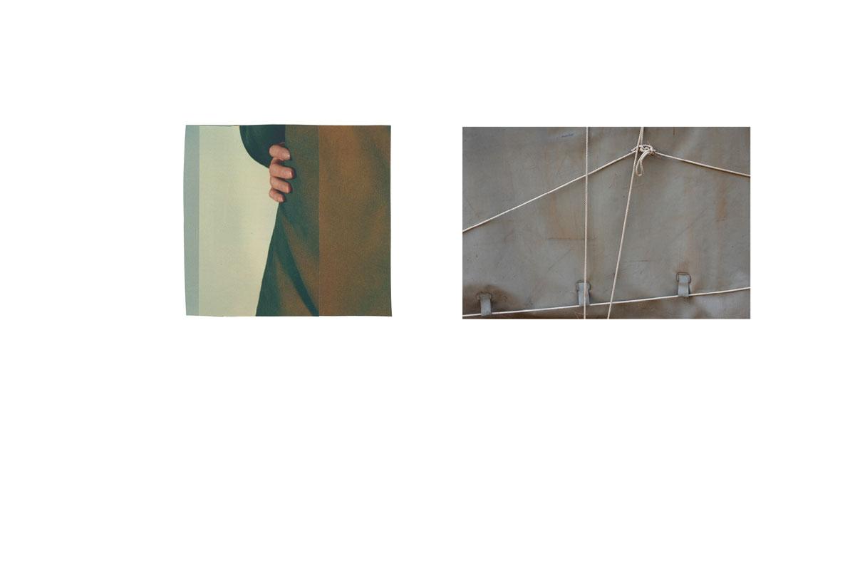 Photo et collage de mots. Écriture intuitive. Découpage, collage. Vintage. Magazine ancien. Années 60. Découpage. Diptyque. Assemblage. Lien. Liaison. Camping abandonné. Caché.