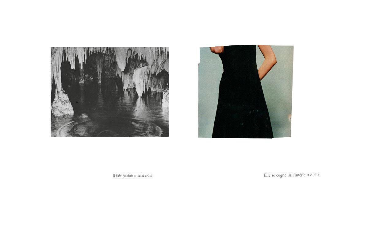 Photo et collage de mots. Écriture intuitive. Découpage, collage. Vintage. Magazine ancien. Années 60. Découpage. Diptyque. Assemblage. Grotte. Femme. Femme en noir. Eau.