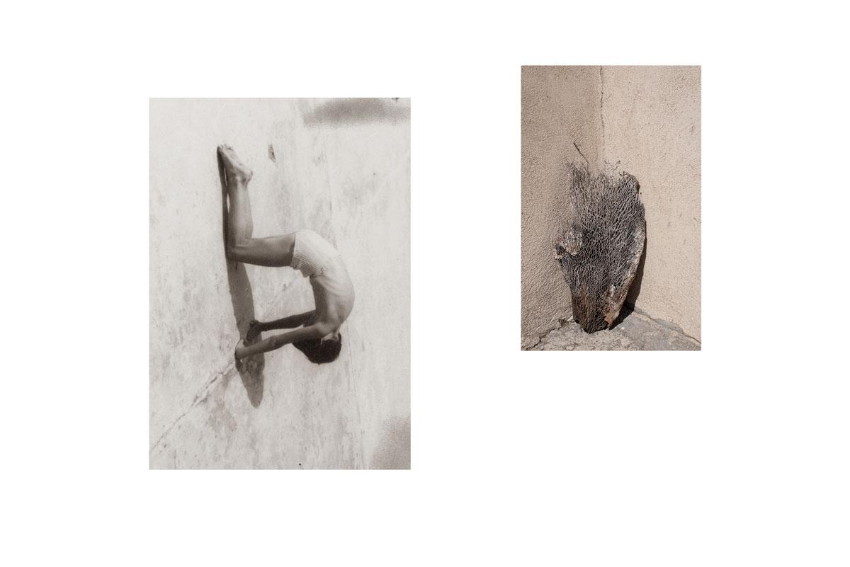 Photo et collage de mots. Écriture intuitive. Découpage, collage. Vintage. Magazine ancien. Années 60. Découpage. Diptyque. Assemblage. Cactus. Corse. Sécheresse. Enfant. Solitude. Dos rond.