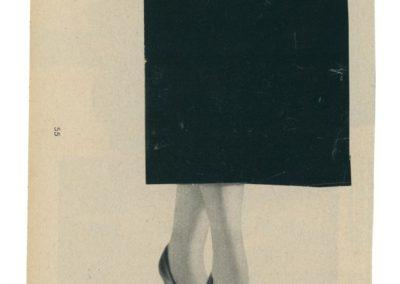 Magazine Elle. Elle. Années 50 / années 60. Découpages. Images découpées, assemblées. Collage. Vintage. Pieds de femme. Jupe. Féminité. Féminin. Couleurs vintage. Diptyque. Papier ancien.
