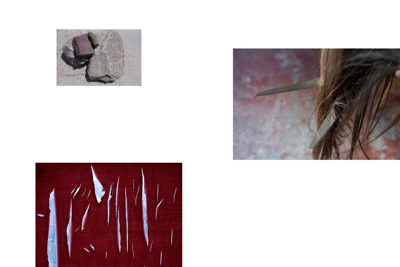 Pierres. Lapidation. Cheveux. Ciseau. Couper. Féminité. Violence. Déchirement. Rouge. Sang. Blessures.