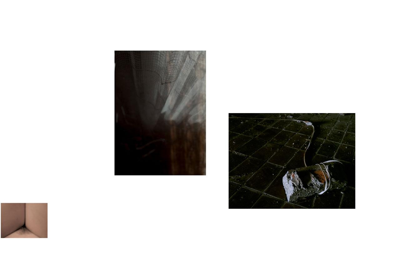 Entre-jambes. Nudité. Femme. Féminité. Intimité. Rideau. Intérieur. Chambre. Pierre. Attache. Corde. Prisonnière.